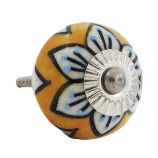Mustard and Blue Flower Drawer and Door Knob Pulls (Pack of 6)
