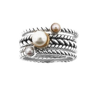 Meredith Leigh Sterling Silver 14k Yellow Gold Stack Pearl Ring