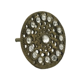Brown Metal/Crystal Antique-style Round Drawer Pull
