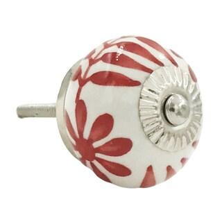 Red/White Metal/ Ceramic Drawer Knobs (Set of 6)
