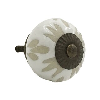 White Etched Ceramic Knobs (Pack of 6)