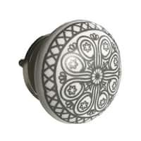 Grey Wheel Ceramic Drawer Knob Pulls (Pack of 6)