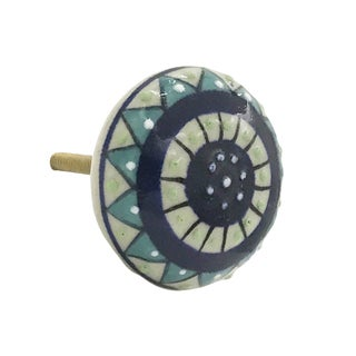 White and Blue Ceramic Dianthus Flower Hand-painted Knobs (Set of 6)