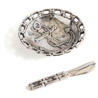 Hip Vinatge Silver Aluminum Cuddy Dish and Knife Set