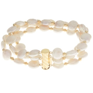 Pearls For You 14k Gold 3-strand White Freshwater Coin Pearl Bracelet