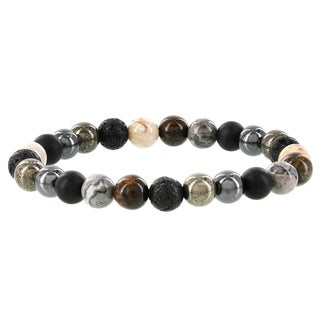 Fox and Baubles Men's Agate/Bronzite/Labradorite Beaded Stretch Bracelet