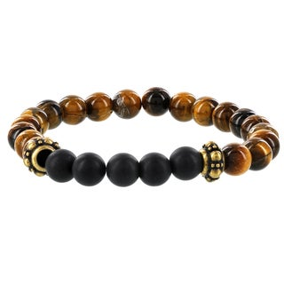 Fox and Baubles Men's Tiger Eye/Matte Black Agate with Brass Spacers Beaded Stretch Bracelet