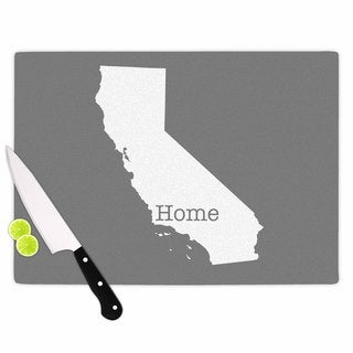 """Kess InHouse Bruce Stanfield """"California Is Home"""" Gray White Cutting Board"""