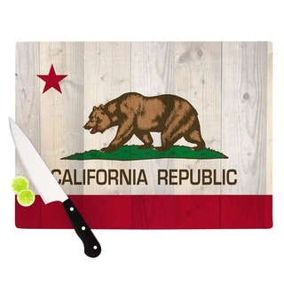 "Kess InHouse Bruce Stanfield ""California Flag Wood"" Brown Cutting Board"