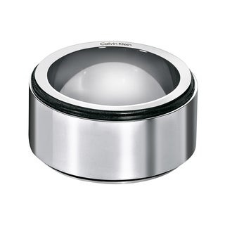 Calvin Klein Grade Stainless Steel Black PVD and Rubber Women's Fashion Ring