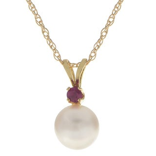 Pearls For You 18-inch 14k Gold White Akoya Pearl and Ruby Pendant Necklace