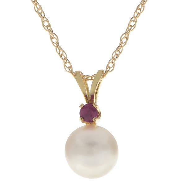 """14k Yellow Gold 5 mm Round Ruby Pendant with 18/"""" Chain"""