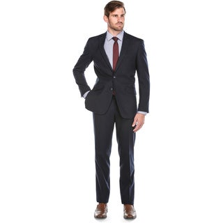 Verno Men's Italian-style Dark Navy Polyester and Viscose Slim-fit 2-piece Suit