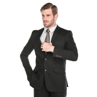 Verno Men's Black Polyester/Viscose Slim Fit Italian-styled Two-piece Suit