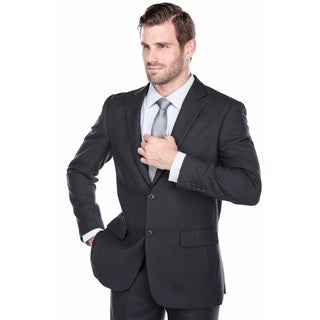 Verno Men's Black/Navy Polyester/Vicose Birdseye Textured Classic Fit Italian Styled 2-Piece Suit