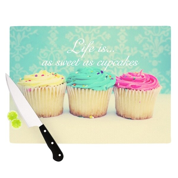 "Kess InHouse Beth Engel ""Life Is As Sweet As Cupcakes"" Green Cutting Board"