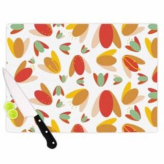 "Kess InHouse Love Midge ""70's Retro Floral"" Orange Nature Cutting Board"