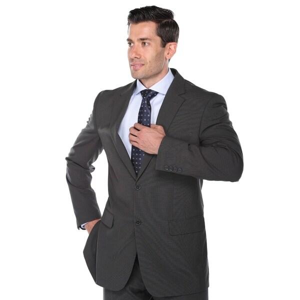 Verno Fashions Men's Grey Birdseye-textured Classic-fit 2-piece Suit