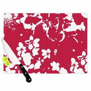 "Kess InHouse Love Midge ""Helena Floral Magenta"" Red White Cutting Board"