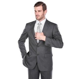 Verno Men's Dark Grey 100% Virgin Wool Classic-fit Suit