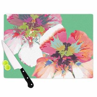 """Kess InHouse Love Midge """"Graphic Flower Nasturtium Mint"""" Green Magenta Cutting Board"""