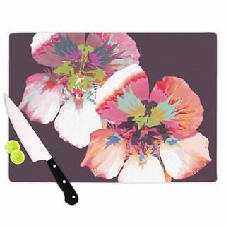 """Kess InHouse Love Midge """"Graphic Flower Nasturtium"""" Lavender Floral Cutting Board"""