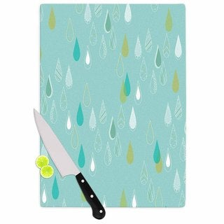 "Kess InHouse Bridgette Burton ""Feathered Rain"" Teal Gold Cutting Board"