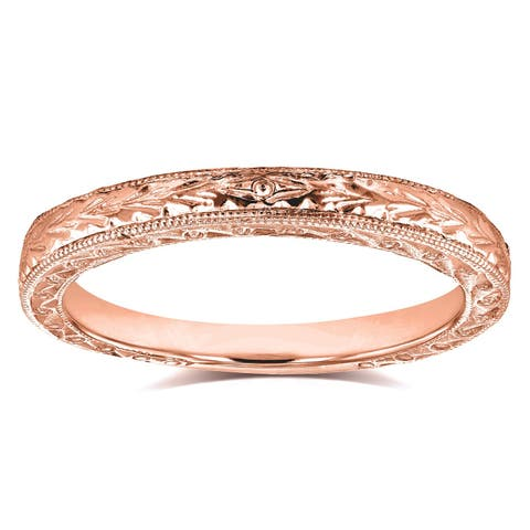 Annello by Kobelli 14k Rose Gold Antique Engravings Womens Wedding Band 2.5 mm