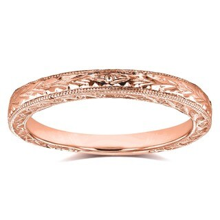 Annello by Kobelli 14k Rose Gold Antique Engravings Womens Wedding Band