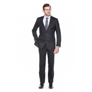 Verno Men's Dark Navy Virgin Wool Classic Fit Suit