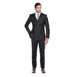 Rivelino Men's Navy Chalk Stripe Wool Slim Fit 3-piece Peak Lapel Suit