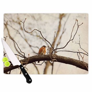 KESS InHouse Angie Turner 'Spring Robin' Red Brown Cutting Board