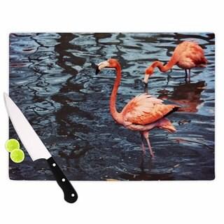 "Kess InHouse Angie Turner ""Pink Flamingo "" Animals Blue Cutting Board"