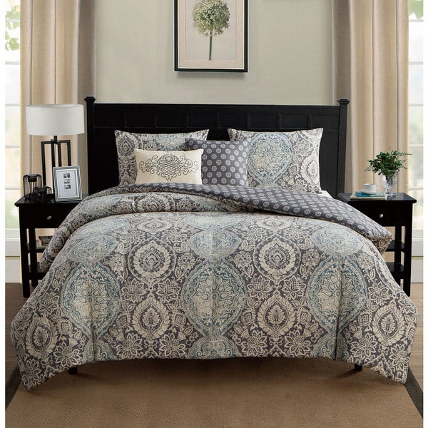 VCNY Valencia 5 piece Reversible Blue Comforter Set