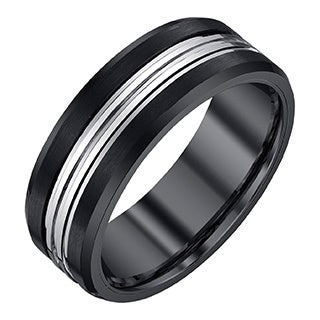 Ever One Men's Black and Grey Tungsten Band