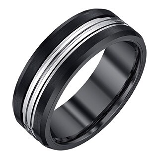 Ever One Men's Black and Grey Tungsten Band (More options available)