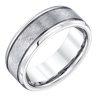 One Men's White Tungsten 8-millimeter Band with Crisscross Textured Finish by Ever One