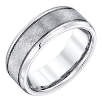 Men's White Tungsten 8-millimeter Band with Crisscross Textured Finish by Ever One