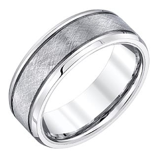 Mens White Tungsten 8 Millimeter Band With Crisscross Textured Finish By Ever One
