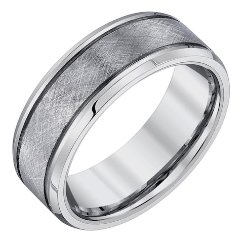 Tungsten 8-millimeter Criss-cross Texture Men's Band by Ever One