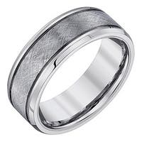 Ever One Men's Tungsten Criss-Cross Textured Band