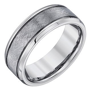 Ever One Men's Tungsten Criss-Cross Textured Band (More options available)