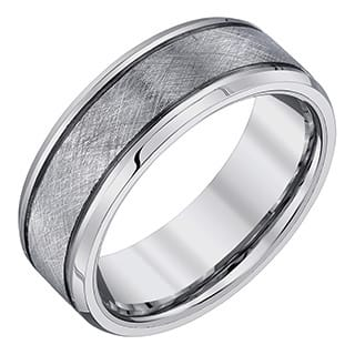 ever one mens tungsten criss cross textured band - Guy Wedding Rings