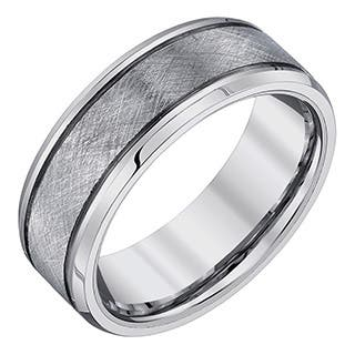 Ever One Mens Tungsten Criss Cross Textured Band