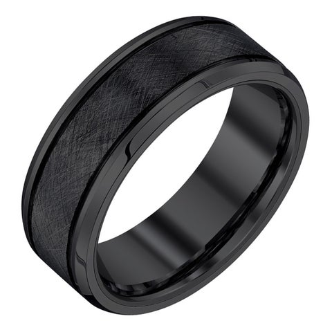 Black Tungsten Men's 8-mm Textured Band by Ever One