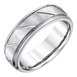 Men's White Tungsten Carbide 7-millimeter Satin/High-polish Accent Finished Band by Ever One