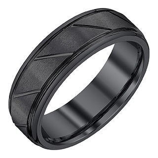 Black Tungsten/Satin 7-millimeter Men's Band by Ever One