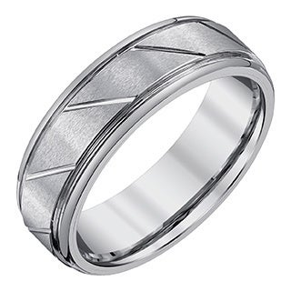Men's 7-millimeter Tungsten Band with Satin and High-polish Accent Finishes by Ever One
