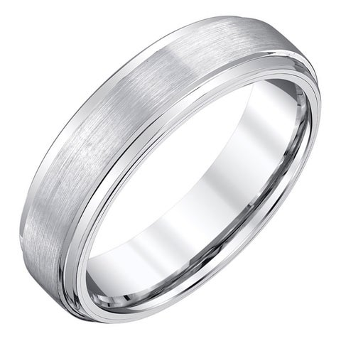 Men's White Satin Tungsten Band by Ever One
