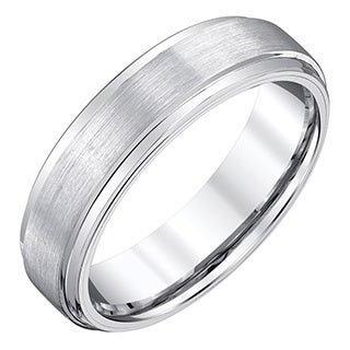 Ever One Men's White Satin Tungsten Band